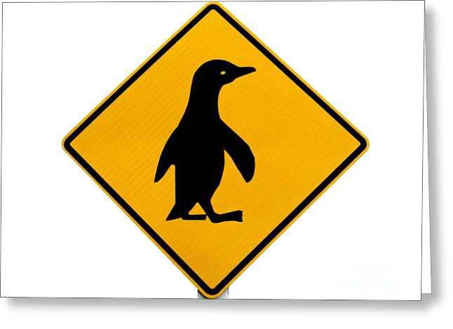 Attention Blue Penguin Crossing Road Sign Greeting Card by Stephan ...