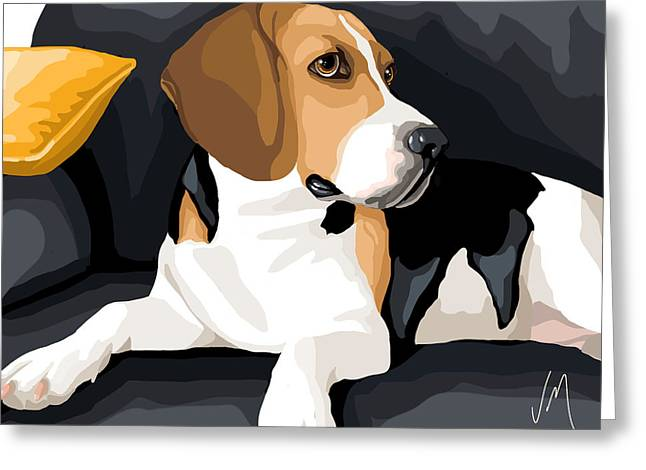 Beagle Paintings Greeting Cards - Attention Greeting Card by Veronica Minozzi