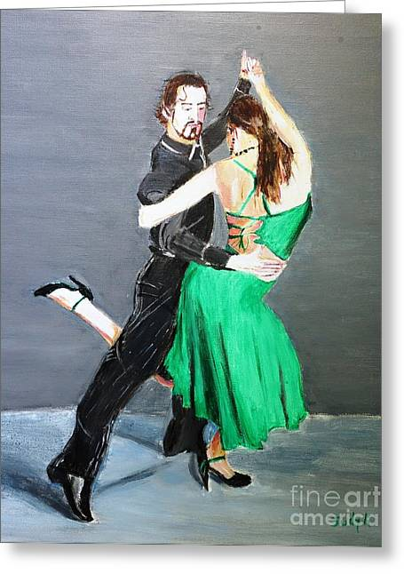 Dancers Paintings Greeting Cards - Attitude Greeting Card by Judy Kay
