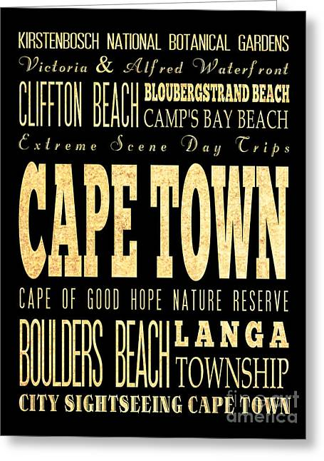 Cape Town Digital Art Greeting Cards - Attraction and Famous Places of Cape Town South Africa Greeting Card by Joy House Studio