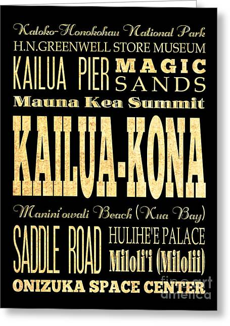 Attraction And Famous Places Of Kailua-kona Hawai Greeting Card by Joy House Studio