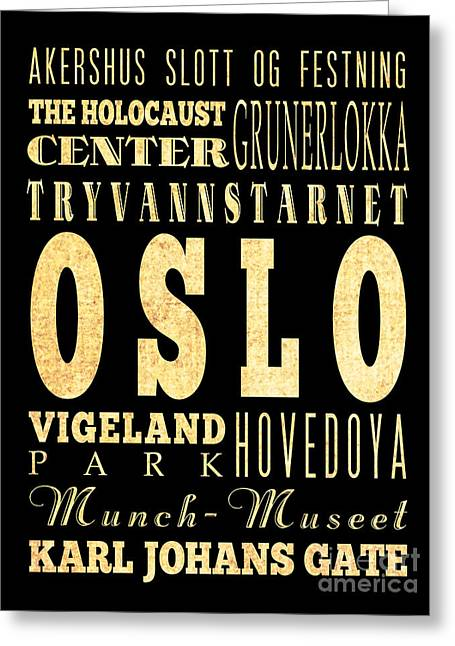 Oslo Greeting Cards - Attraction and Famous Places of Oslo Norway Greeting Card by Joy House Studio