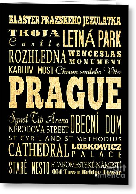 Prague Czech Republic Digital Greeting Cards - Attraction and Famous Places of Prague Czech Republic Greeting Card by Joy House Studio