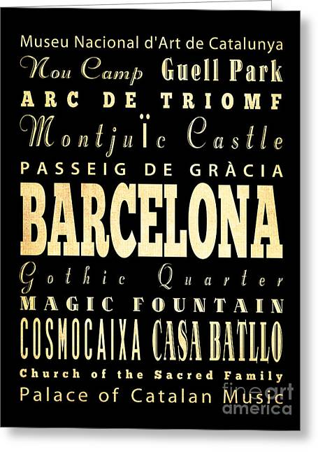 Magic Bus Greeting Cards - Attractions and Famous Places of Barcelona Spain Greeting Card by Joy House Studio