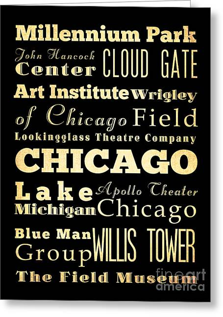 Attractions And Famous Places Of Chicago Illinois Greeting Card by Joy House Studio
