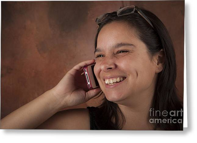 Hand On Waist Greeting Cards - Attractive Brunette Woman Talking on Her Cell Phone Greeting Card by Joel  Bourgoin