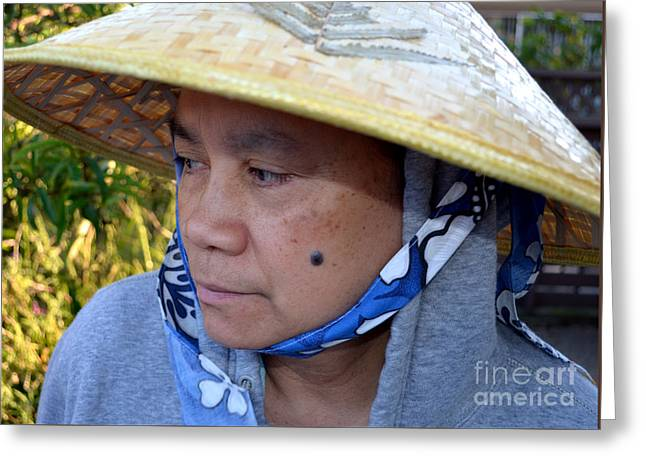 ist Working Photo Photographs Greeting Cards - Attractive Filipina Woman with a Mole on Her Cheek and Wearing a Conical Hat Greeting Card by Jim Fitzpatrick