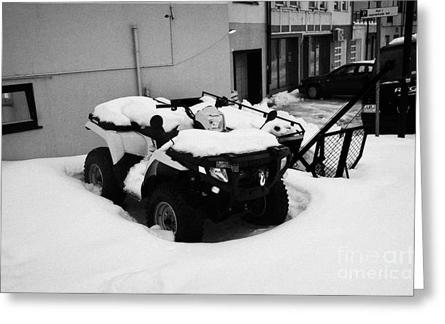 Honningsvag Greeting Cards - atv quad covered in snow Honningsvag finnmark norway europe Greeting Card by Joe Fox