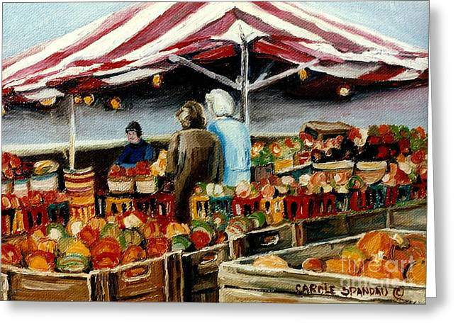 Verdun Food Greeting Cards - Atwater Market Montreal Street Scene Greeting Card by Carole Spandau