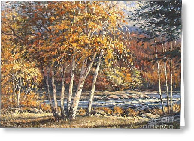 Artiste Quebecois Du Canada Greeting Cards - Au bord du rapide by Morinart Greeting Card by Pierre Morin