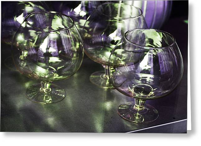Menu Greeting Cards - Aubergine Paris Wine Glasses Greeting Card by Evie Carrier