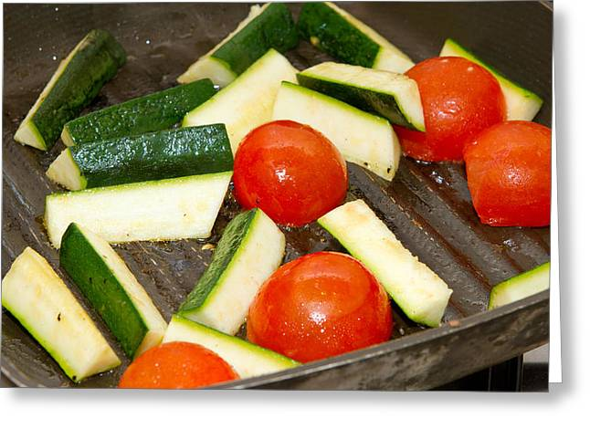 Saucepan Greeting Cards - Aubergines and tomatoes frying in a griddle pan Greeting Card by Fizzy Image