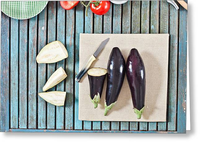 Edible Greeting Cards - Aubergines Greeting Card by Tom Gowanlock