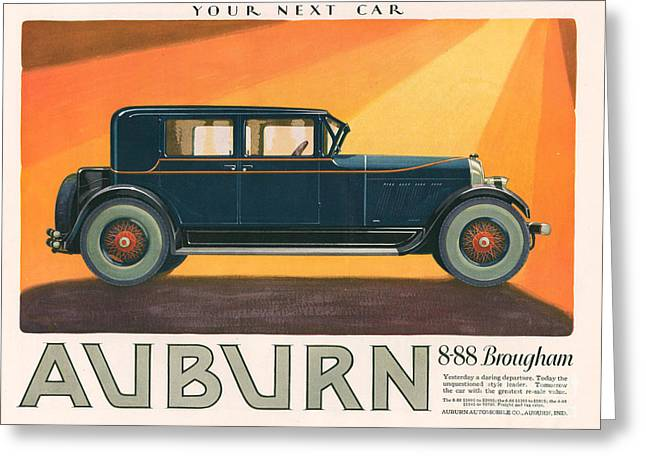 American Automobiles Greeting Cards - Aubern 1926 1920s Usa Cc Cars Greeting Card by The Advertising Archives