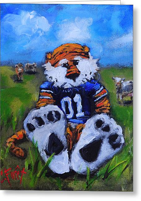 Aubie With The Cows Greeting Card by Carole Foret