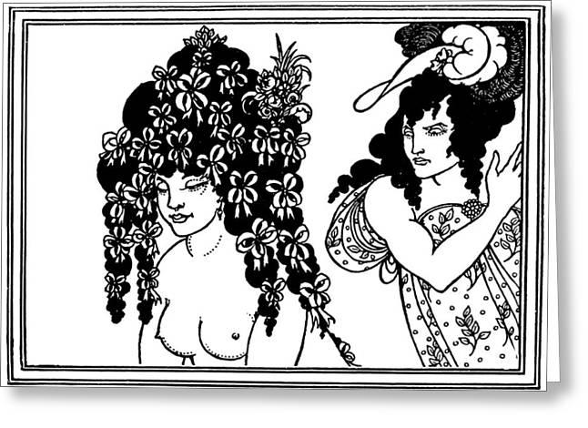 Aubrey Greeting Cards - Aubrey Beardsley Lysistrata Illustration Greeting Card by Aubrey Beardsley
