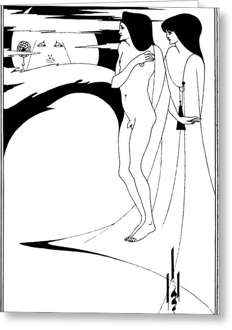 Aubrey Beardsley Woman In The Moon Greeting Card by