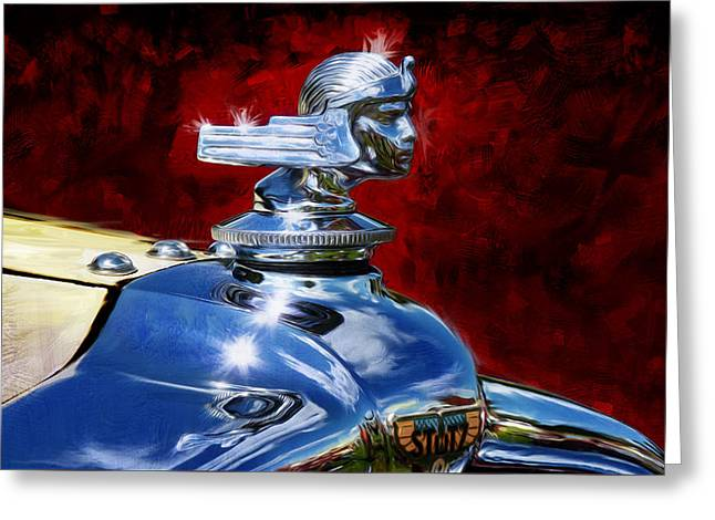 Vintage Hood Ornaments Paintings Greeting Cards - 1929 Auburn 8-120 Boat-tail Speedster Hood Ornament Greeting Card by Garth Glazier