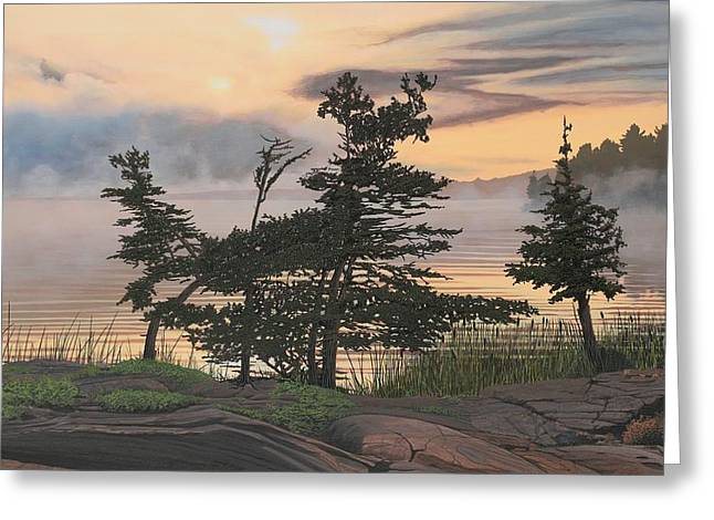 Mist Paintings Greeting Cards - Auburn Evening Greeting Card by Kenneth M  Kirsch