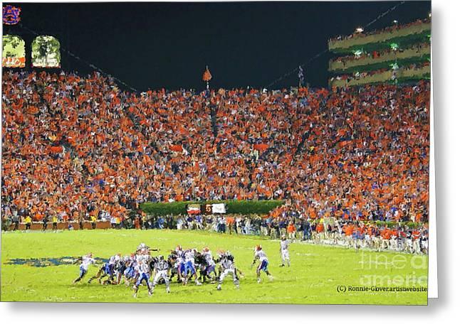 Jordan-hare Stadium Greeting Cards - Auburn Football Greeting Card by Ronnie Glover