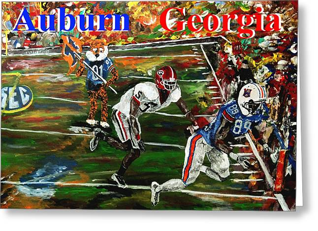 Sec Greeting Cards - Auburn Georgia Football  Greeting Card by Mark Moore
