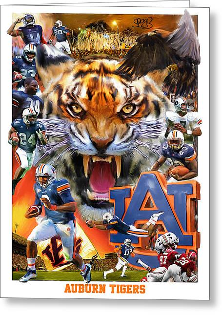 Toomers Corner Greeting Cards - Auburn Tigers Greeting Card by Mark Spears