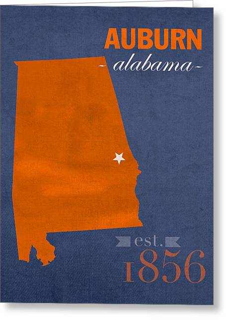 Alabama Mixed Media Greeting Cards - Auburn University Tigers Auburn Alabama College Town State Map Poster Series No 016 Greeting Card by Design Turnpike