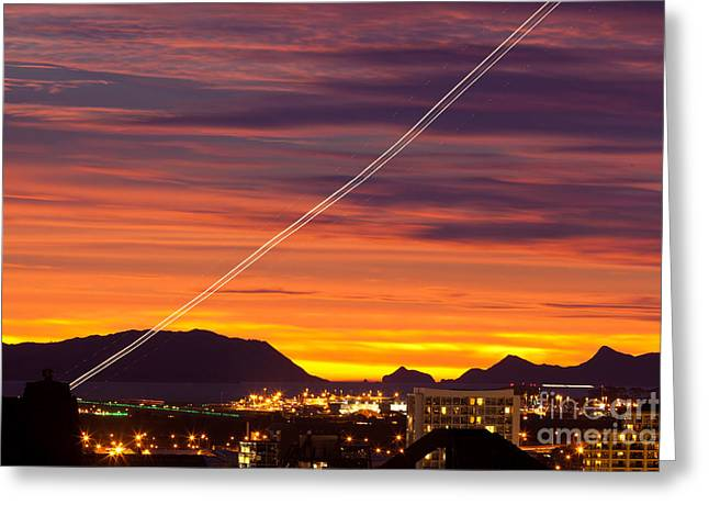 Take Over Greeting Cards - Auckland Airport Airliner lighttrail New Zealand Greeting Card by Stephan Pietzko