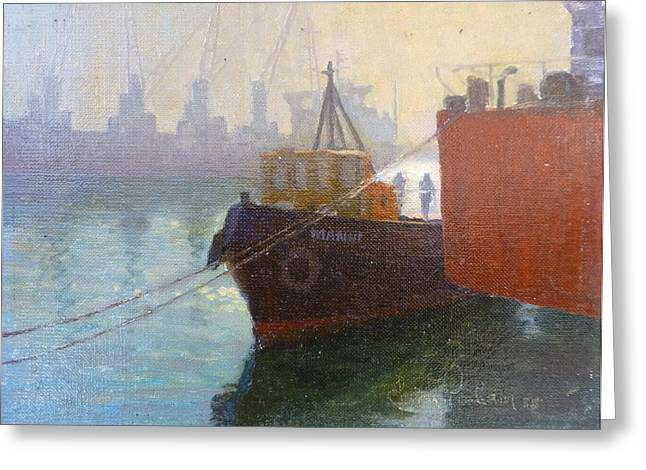 Terry Perham Paintings Greeting Cards - Auckland Morning Greeting Card by Terry Perham