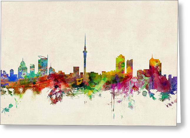 New Zealand Greeting Cards - Auckland Skyline New Zealand  Greeting Card by Michael Tompsett