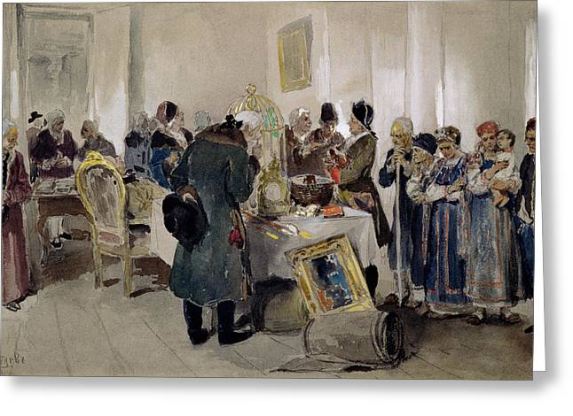 Impoverished Greeting Cards - Auction Of Serfs, 1910 Wc On Paper Greeting Card by Klavdiy Vasilievich Lebedev