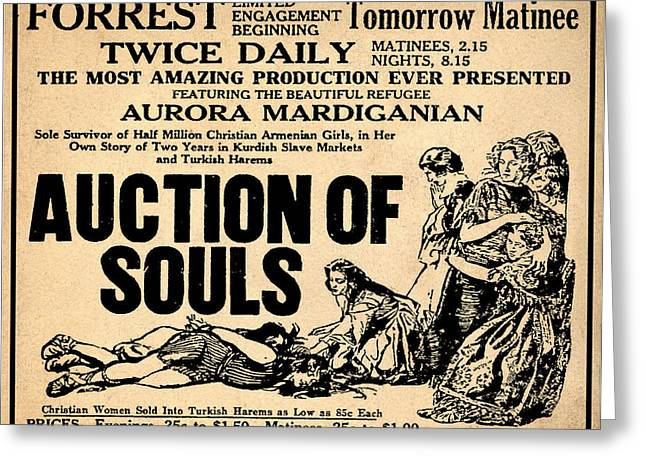 Auction Greeting Cards - Auction of Souls Greeting Card by Digital Reproductions