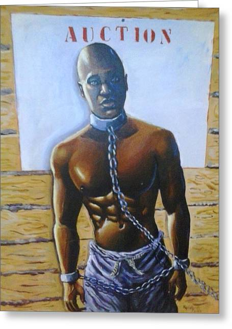 Slavery Paintings Greeting Cards - Auction Today Greeting Card by Barbara Gray