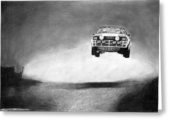 Scene Drawings Greeting Cards - Audi Quattro Flying Greeting Card by Gabor Vida