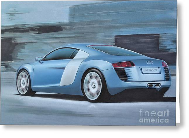 Driving Drawings Greeting Cards - Audi R8 Lemans Concept Greeting Card by Paul Kuras