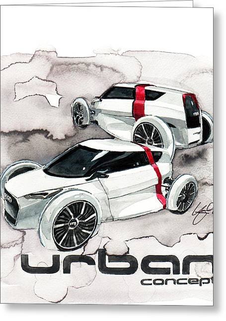 Concept Paintings Greeting Cards - Audi Urban concept Greeting Card by Yoshiharu Miyakawa