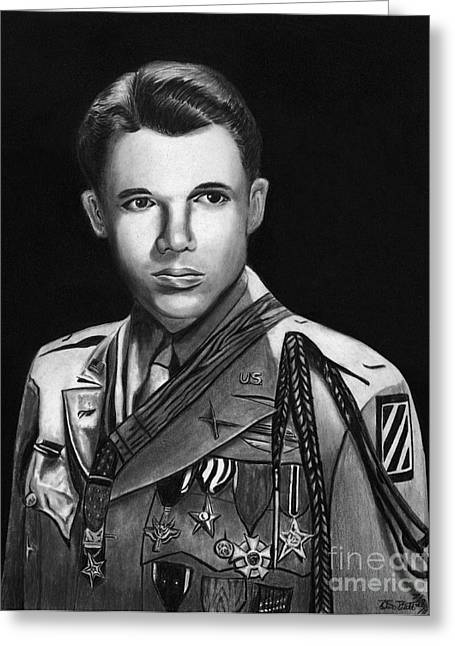 Photorealistic Greeting Cards - Audie Murphy Greeting Card by Peter Piatt
