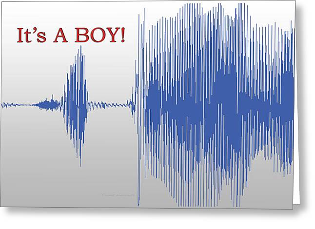 Audio Art It's A Boy Greeting Card by Thomas Woolworth
