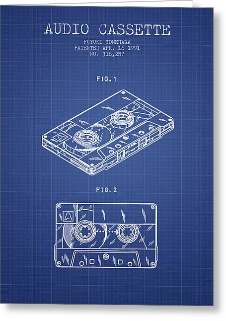 Cassettes Greeting Cards - Audio Cassette Patent from 1991 - Blueprint Greeting Card by Aged Pixel