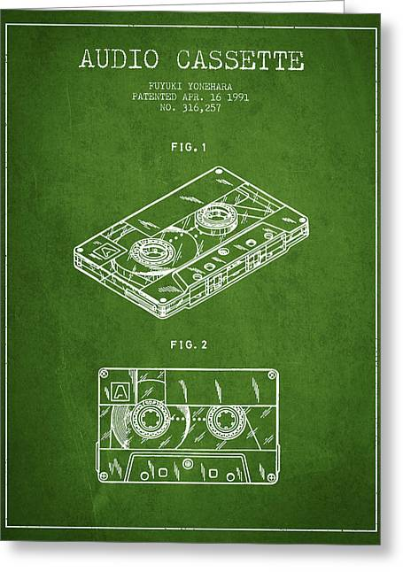 Cassettes Greeting Cards - Audio Cassette Patent from 1991 - Green Greeting Card by Aged Pixel