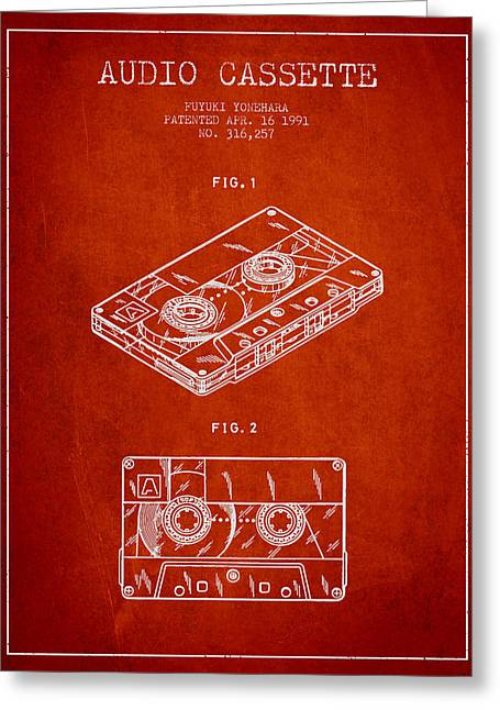 Cassettes Greeting Cards - Audio Cassette Patent from 1991 - Red Greeting Card by Aged Pixel