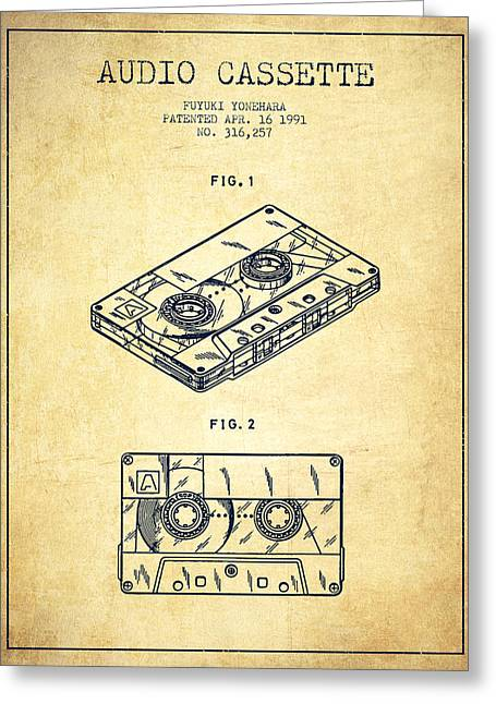 Cassettes Greeting Cards - Audio Cassette Patent from 1991 - Vintage Greeting Card by Aged Pixel