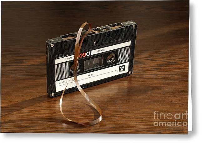Casette Greeting Cards - Audio tape cassette with subtracted out tape Greeting Card by Deyan Georgiev