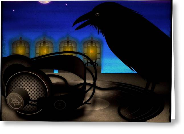 Crow. Bird Music Greeting Cards - Audiophile Raven Greeting Card by Milton Thompson