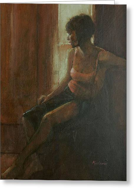 Full-length Portrait Greeting Cards - Audrey, 2009 Oil On Canvas Greeting Card by Pat Maclaurin