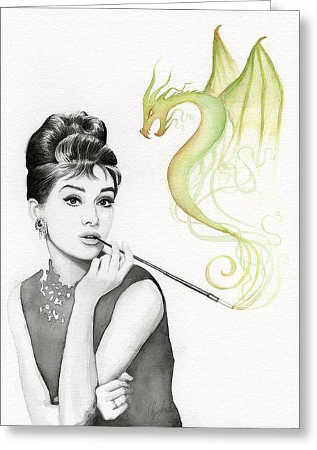 Celeb Greeting Cards - Audrey and Her Magic Dragon Greeting Card by Olga Shvartsur