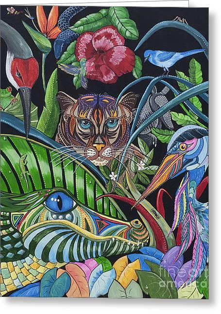 Florida Gators Paintings Greeting Cards - Audrey Greeting Card by Barbara Miller