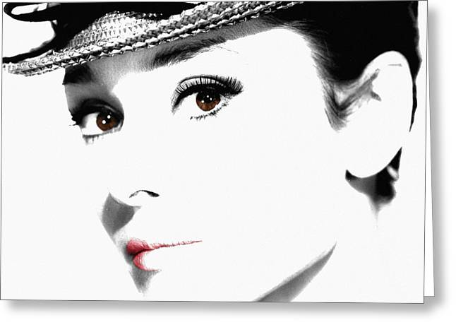 Funny Face Greeting Cards - Audrey Hepburn 2 Greeting Card by Andrew Fare
