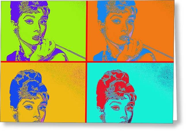 Audrey Hepburn 20130330v2 Four Greeting Card by Wingsdomain Art and Photography