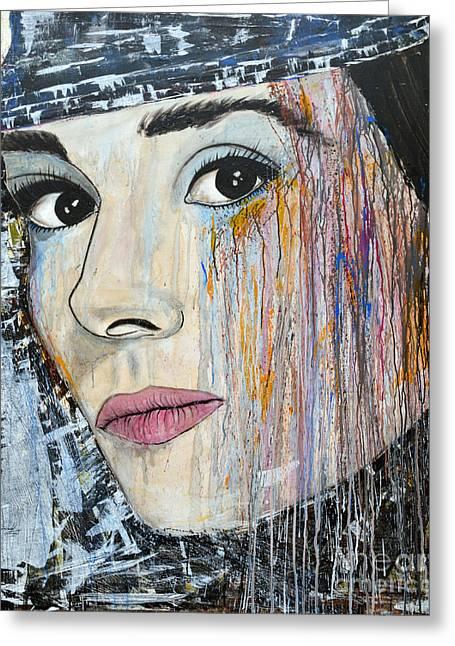 Ismeta Greeting Cards - Audrey Hepburn-Abstract Greeting Card by Ismeta Gruenwald